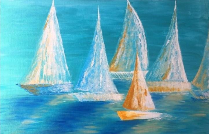 peinture acrylique satiné bateaux à voiles