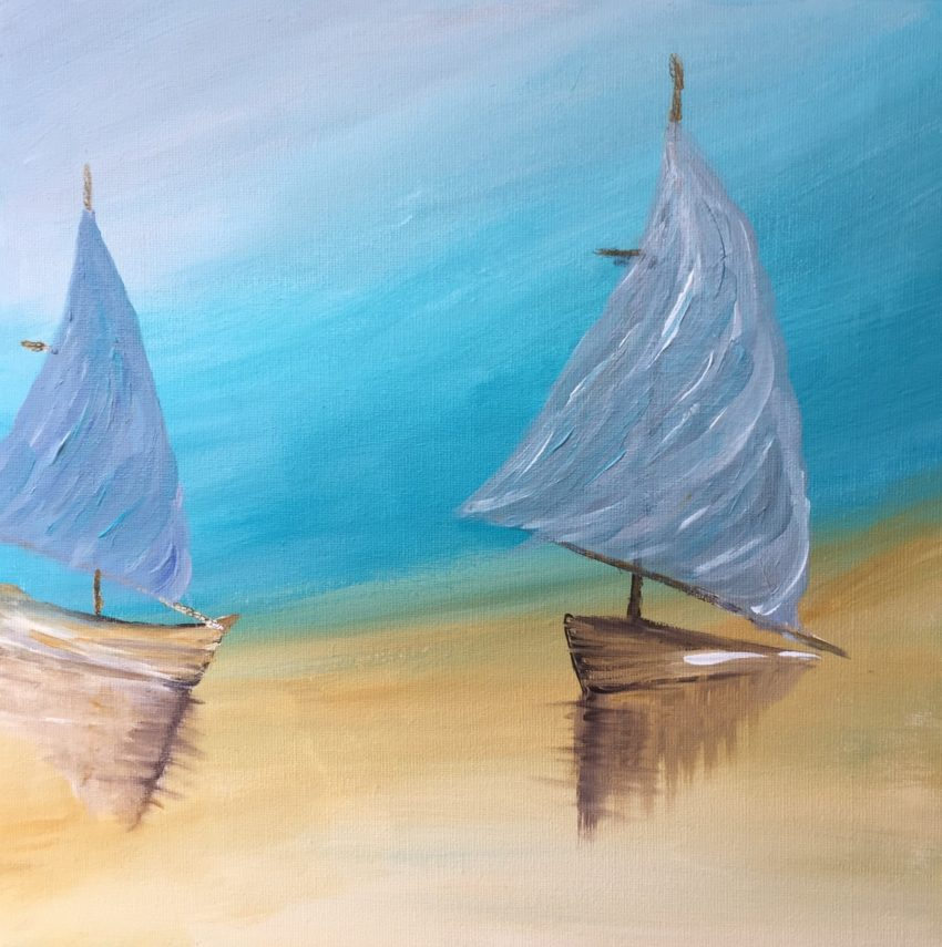 Peinture acrylique bateau sur la plage