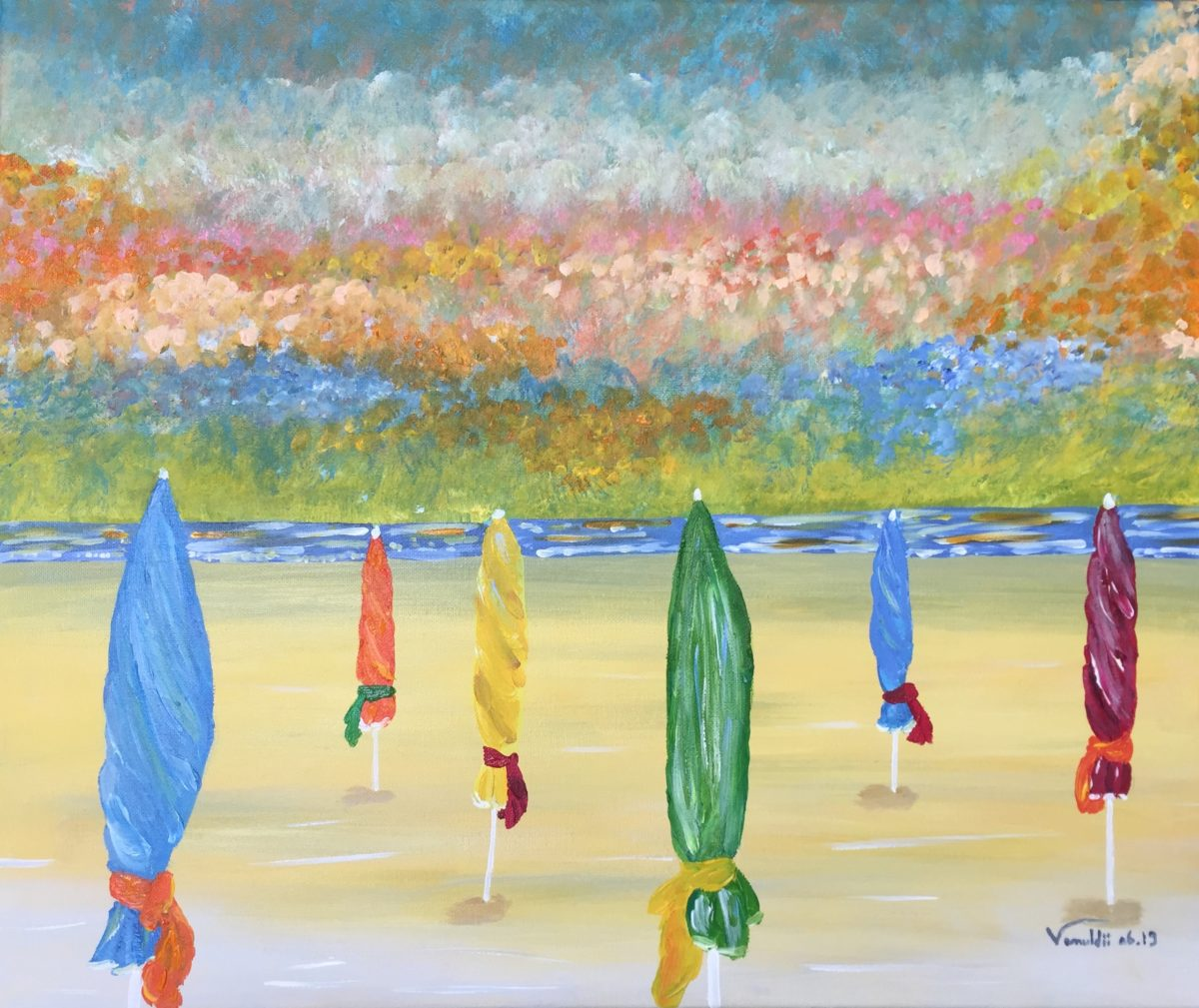 Peinture Acrylique plage de deauville