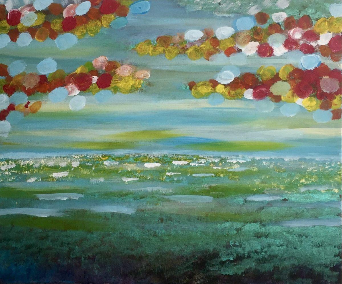 Peinture à l'Huile mer et nuages en couleurs