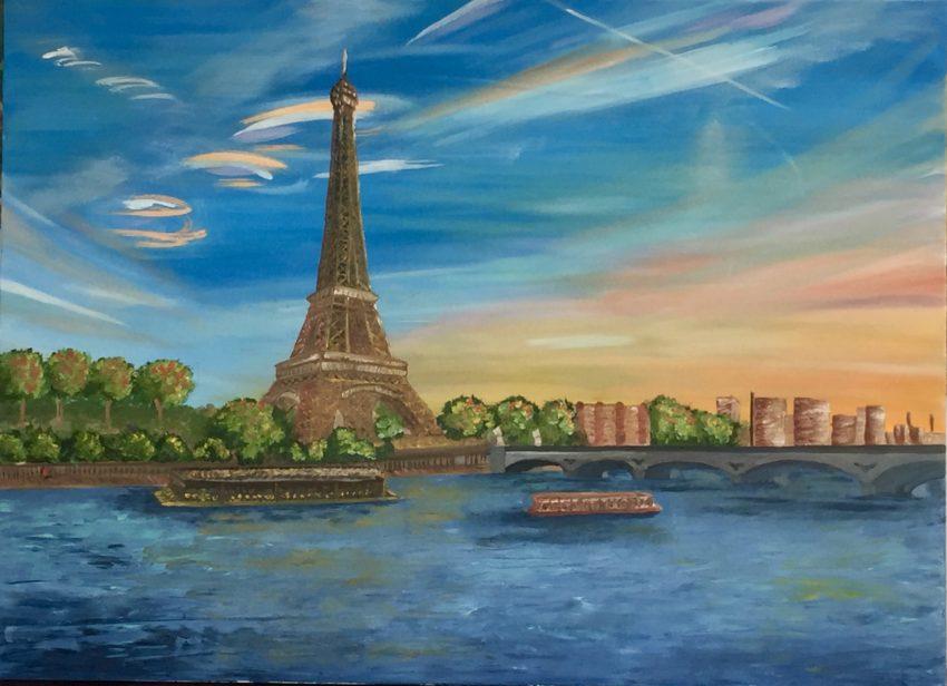Huile et Acrylique paris Tour Eiffel